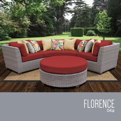 FLORENCE-04a-TERRACOTTA Florence 4 Piece Outdoor Wicker Patio Furniture Set 04a with 2 Covers: Grey and