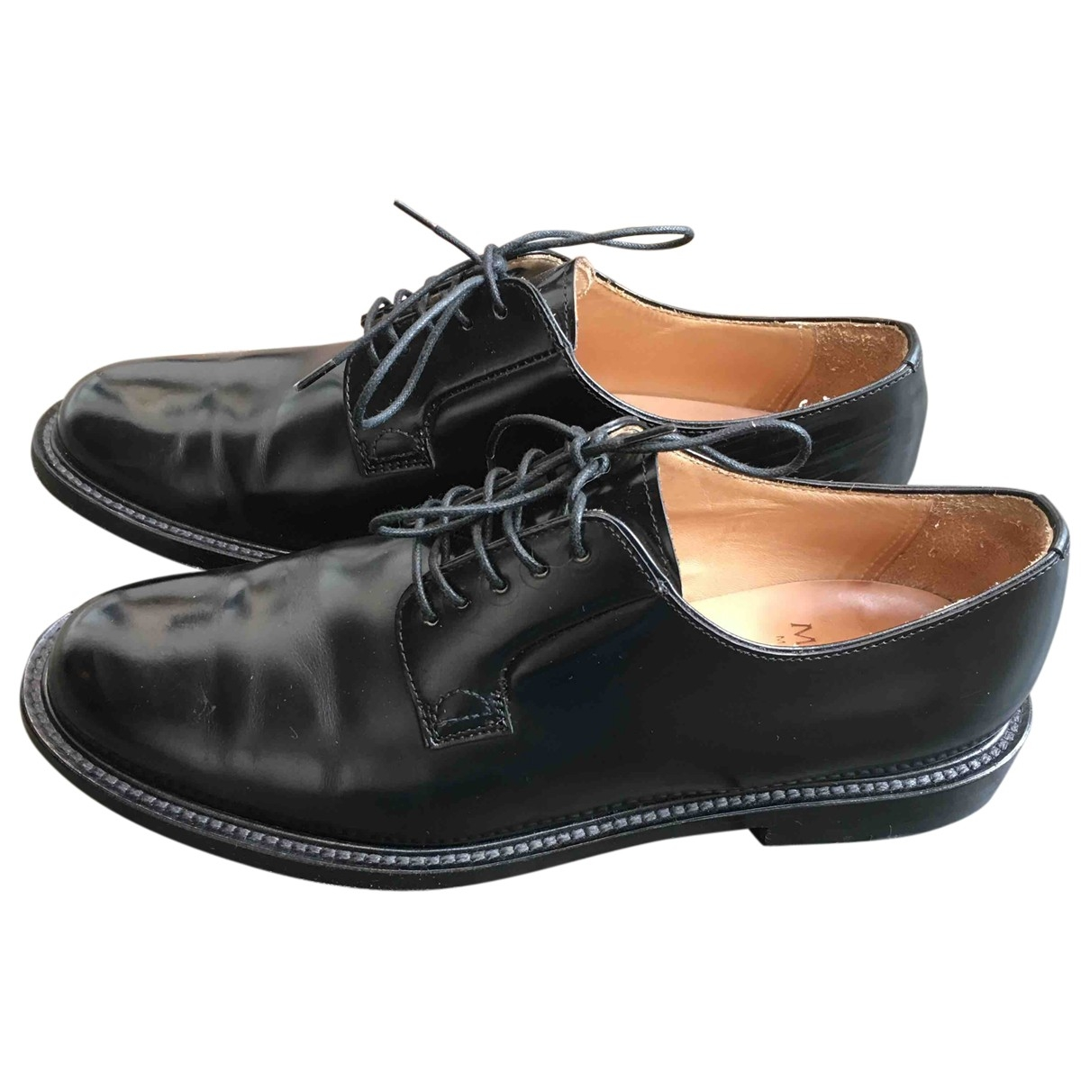Moncler \N Black Leather Flats for Women 37 EU