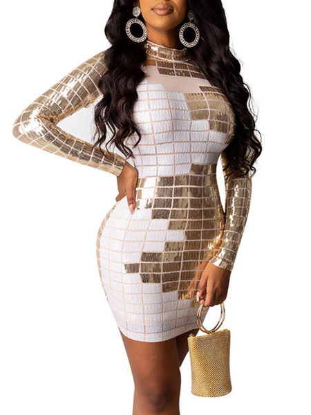 Milanoo Club Dress Jewel Neck Sexy Sequins Long Sleeves Cotton Blend Color Block White Sexy Dress