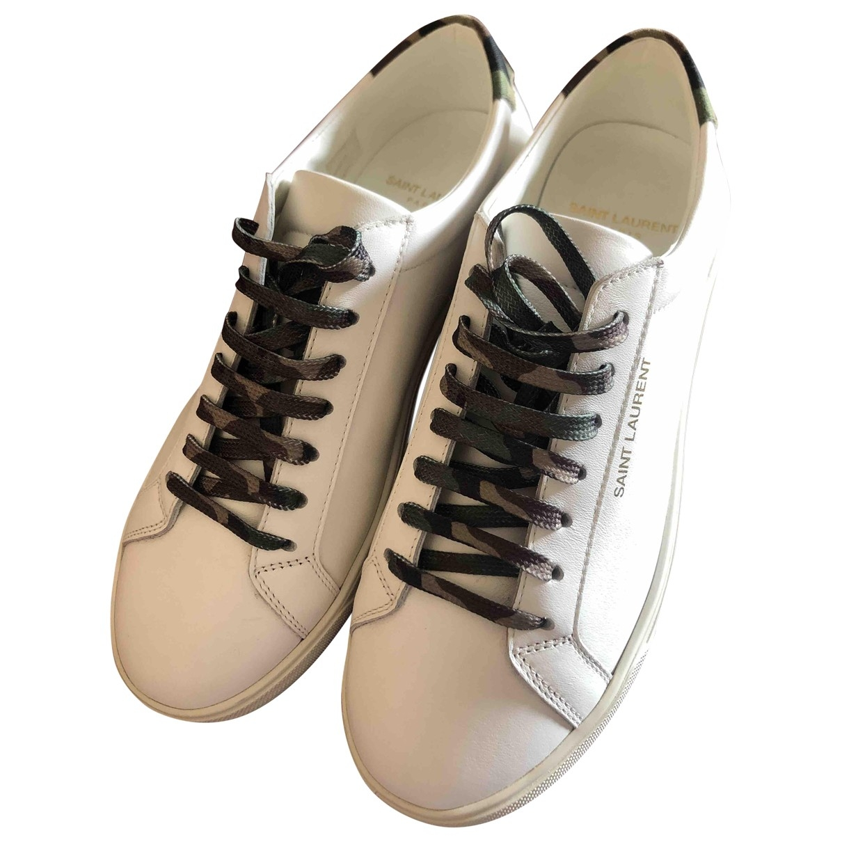 Saint Laurent Andy White Leather Trainers for Women 37.5 IT