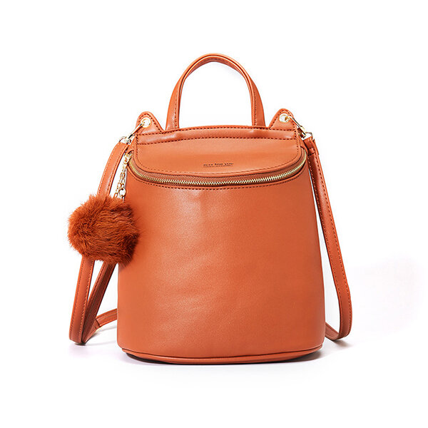 Faux Leather Minimalist Plush Ball Bucket Bag Shoulder Bag Backpack For Women