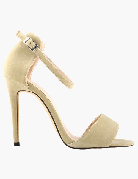 Milanoo High Heel Sandals Womens Suede Open Toe Ankle Strap Stiletto Heels Sandals
