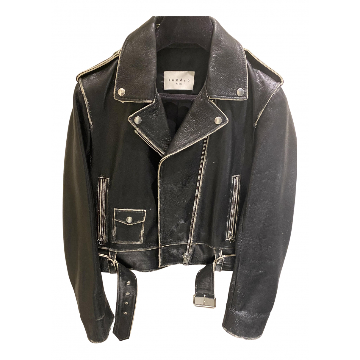 Sandro \N Black Leather Leather jacket for Women 1 0-5
