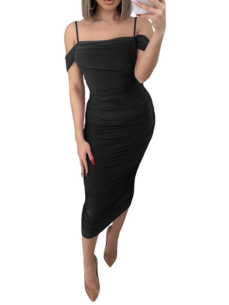 Ericdress Pleated Short Sleeve Mid-Calf Pullover Sheath Dress