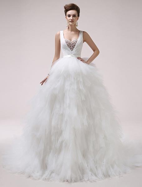 Milanoo Vestido de novia de tul de color marfil sin mangas con escote en V