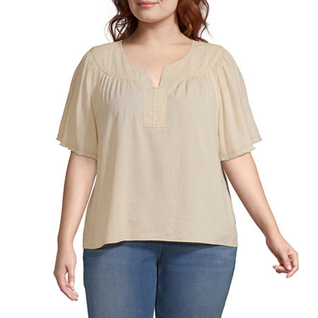 a.n.a-Plus Womens Split Crew Neck Short Sleeve Blouse, 0x , Beige