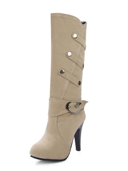 Milanoo con pala de gamuza de puntera de forma de almendra botas altas mujer 10cm de tacon de stiletto negro  Detalles metalicos Color liso