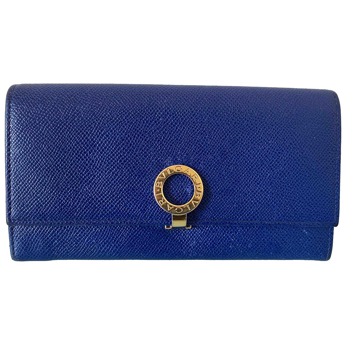 Bvlgari - Portefeuille   pour femme en cuir - bleu