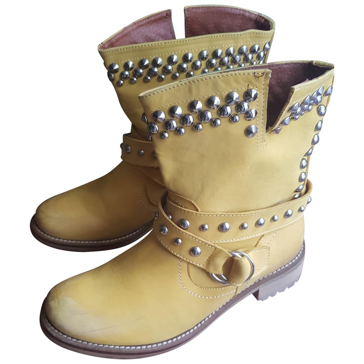 Chiara Ferragni \N Yellow Leather Boots for Women 38 IT