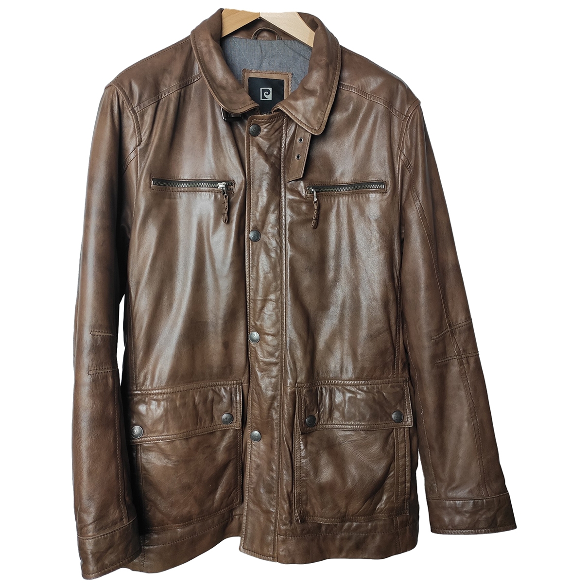 Pierre Cardin \N Brown Leather jacket  for Men 50 FR