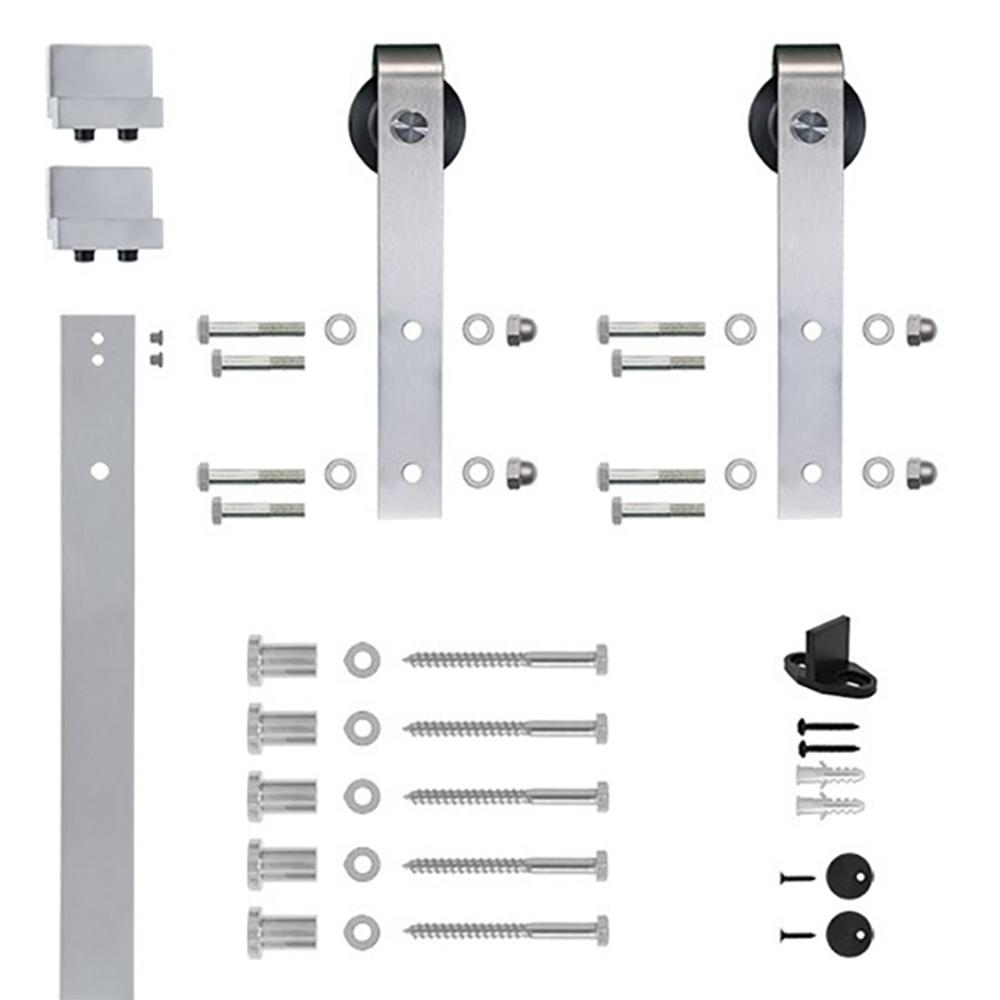 6.6 Ft. Satin Nickel Hook Strap Rolling Door Hardware Kit for Wood Door
