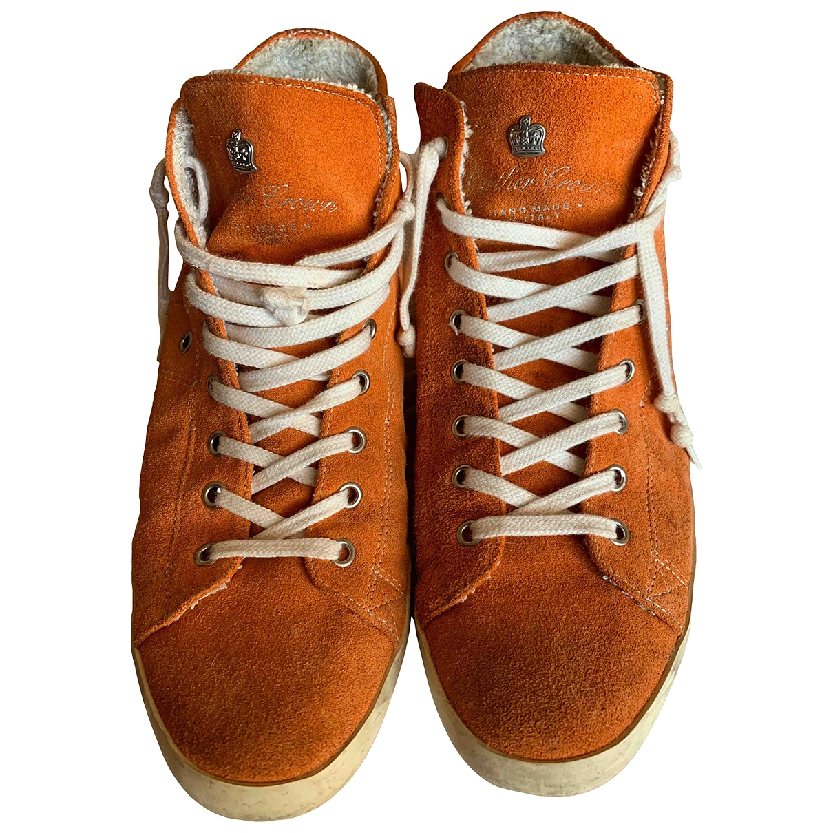 Leather Crown \N Sneakers in  Orange Veloursleder