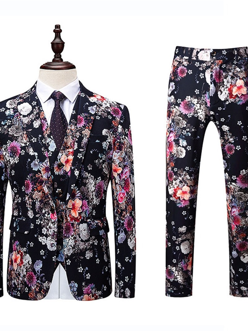 Ericdress Print Korean Mens Pants Dress Suit