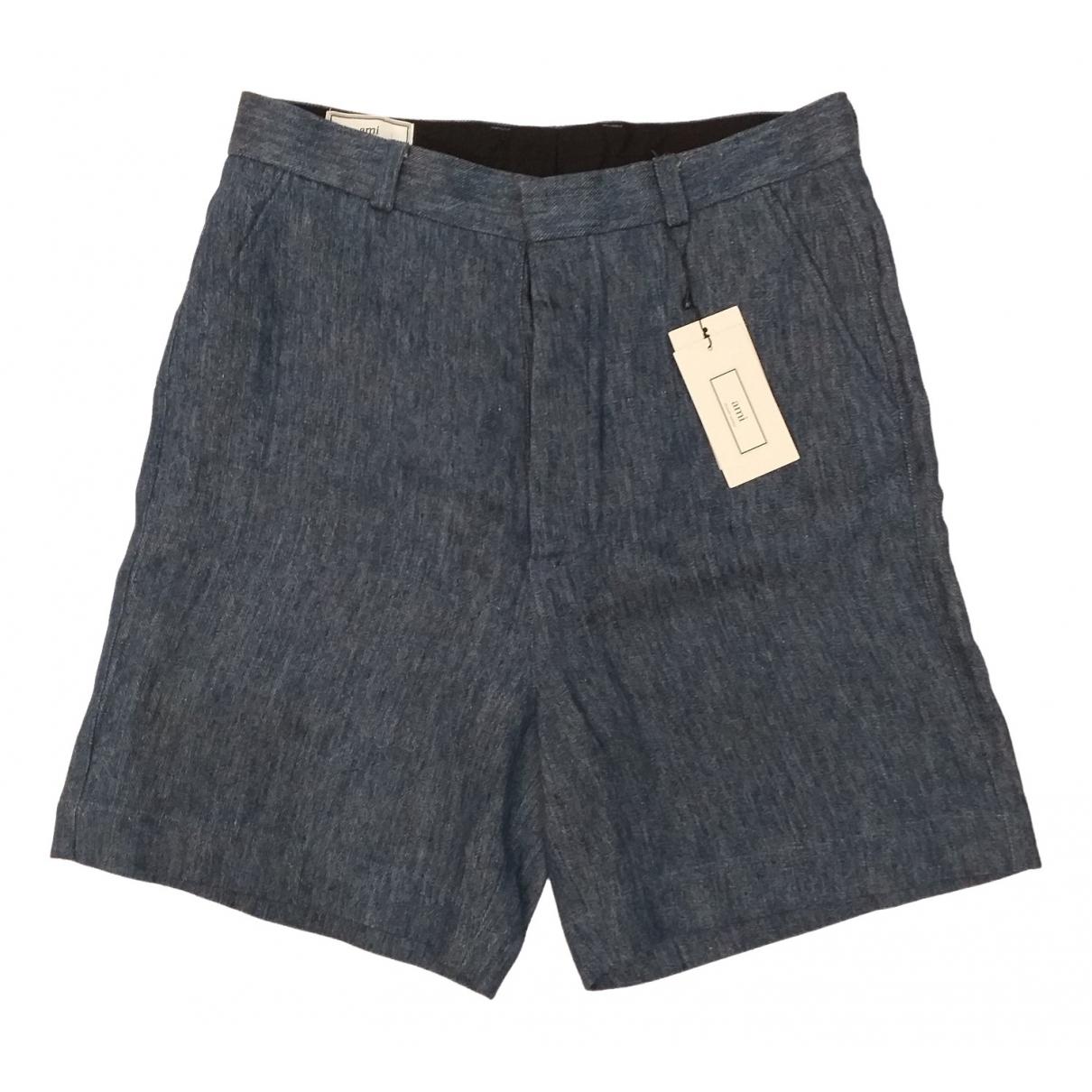 Ami \N Shorts in  Blau Leinen