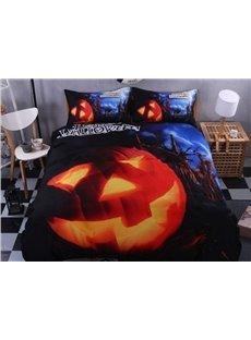 3D Halloween Pumpkin Printed Polyester 4-Piece Blue Bedding Sets/Duvet Covers