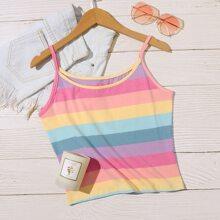 Plus Rainbow Striped Cami Top