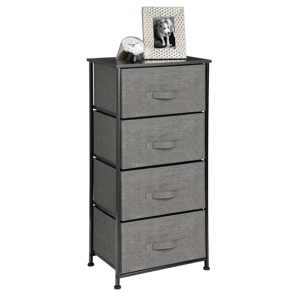4 Drawer Tall Fabric Dresser for Storage in Charcoal Gray, 12