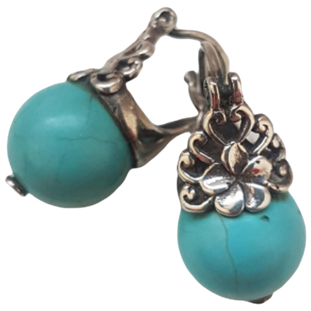 - Boucles doreilles Turquoises pour femme en argent - turquoise