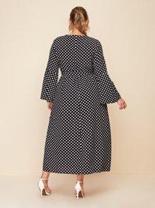 Plus Cutout V-neck Belted Polka Dot Dress