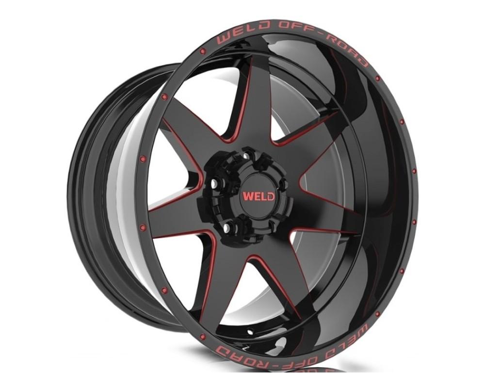 Weld Racing W11009057500 Retaliate Wheel 20x9 5x127|5x139.7 00mm Gloss Black w/ Red Milled
