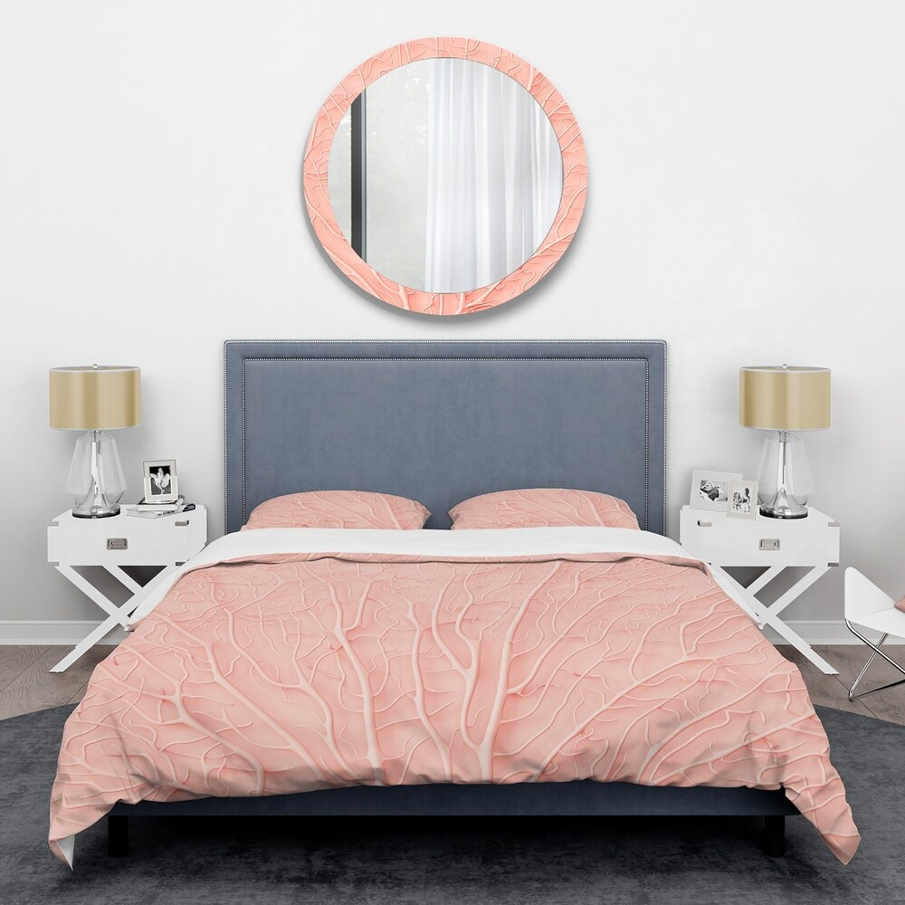 Designart 'Living Coral Pink' Mid-Century Duvet Cover Set (Twin Cover + 1 sham (comforter not included))