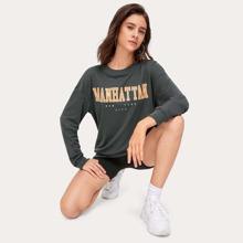 Letter Graphic Sweatshirt & Biker Shorts