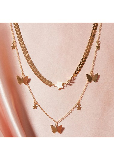 Mother's Day Gifts Layered Gold Metal Butterfly Design Necklace - One Size