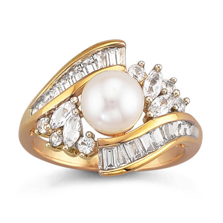 14K Gold Over Silver Cultured Freshwater Pearl & Lab-Created White Sapphire Ring, 8 , White