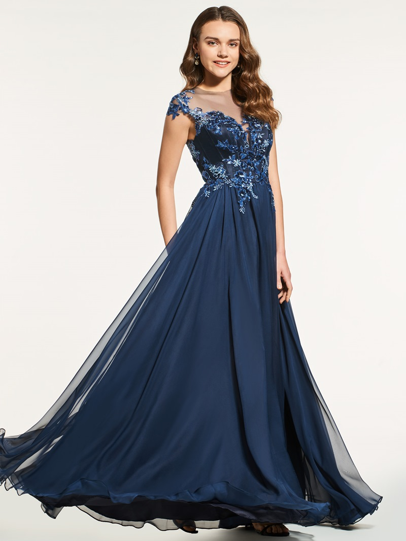 Ericdress A Line Cap Sleeve Sequin Applique Long Prom Dress