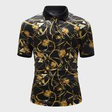 Men Chain Print Polo Shirt