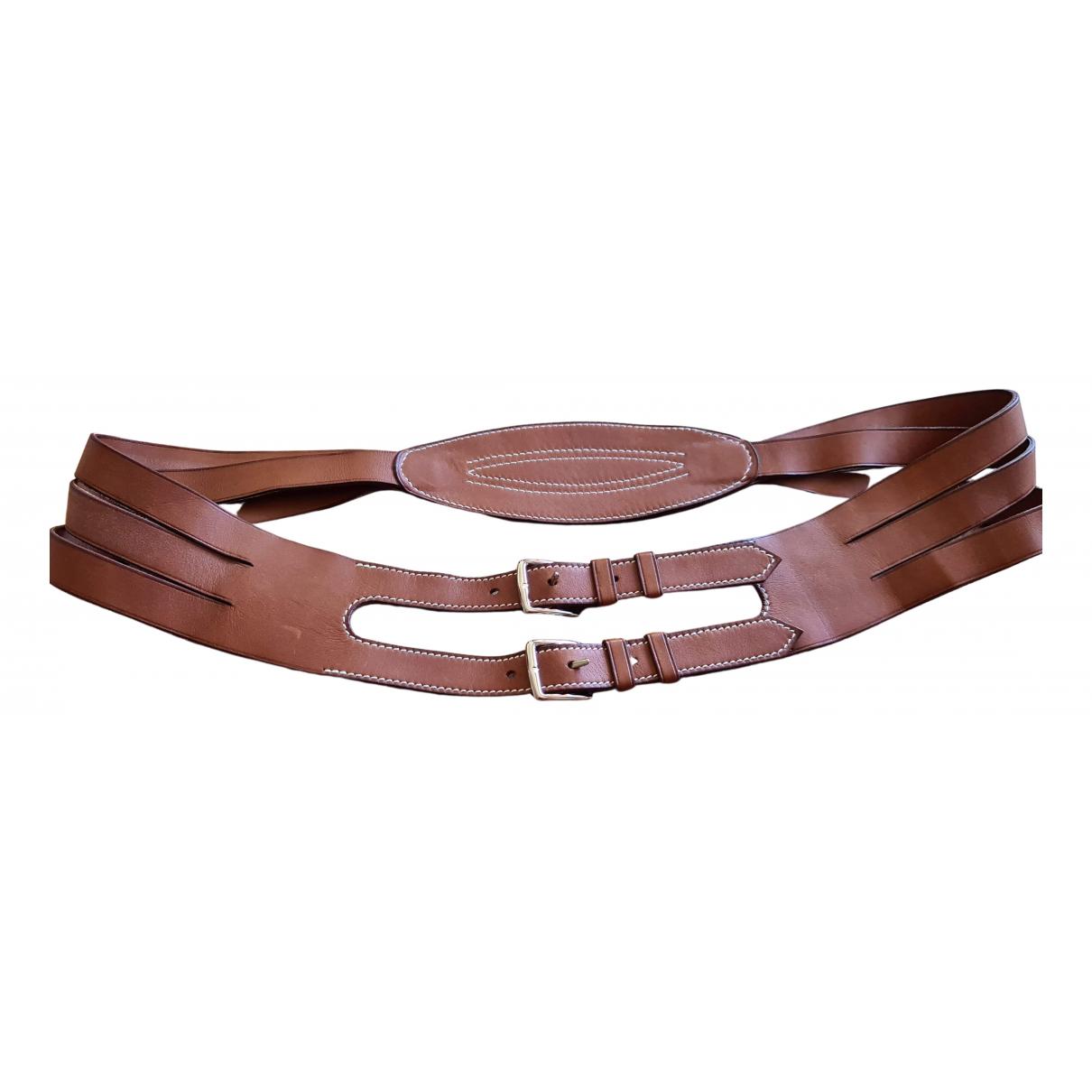 Hermès Etrivière Brown Leather belt for Women 85 cm