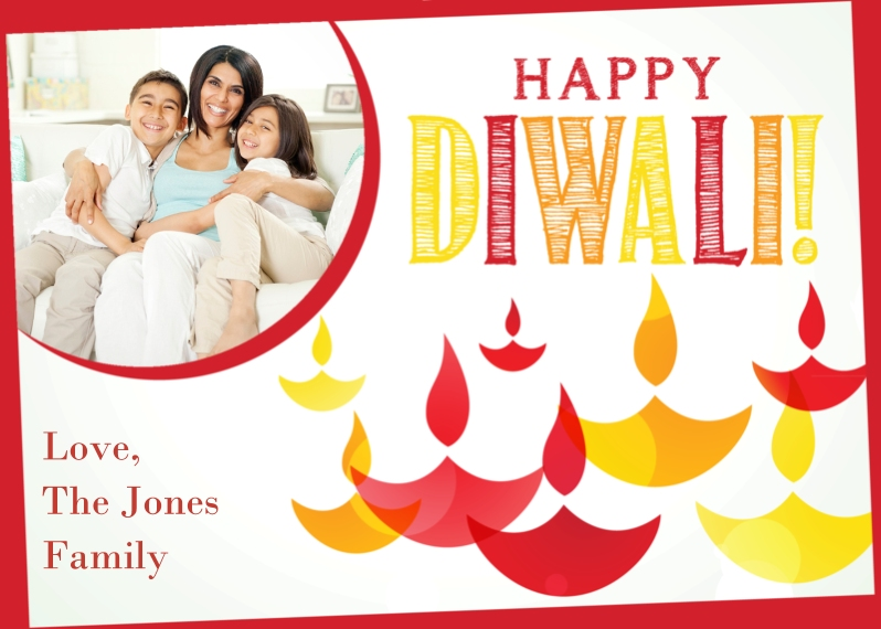 Diwali Cards 5x7 Cards, Premium Cardstock 120lb, Card & Stationery -Happy Diwali Candles