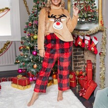 Plus Christmas Embroidered Teddy Pullover & Buffalo Plaid Pants PJ Set