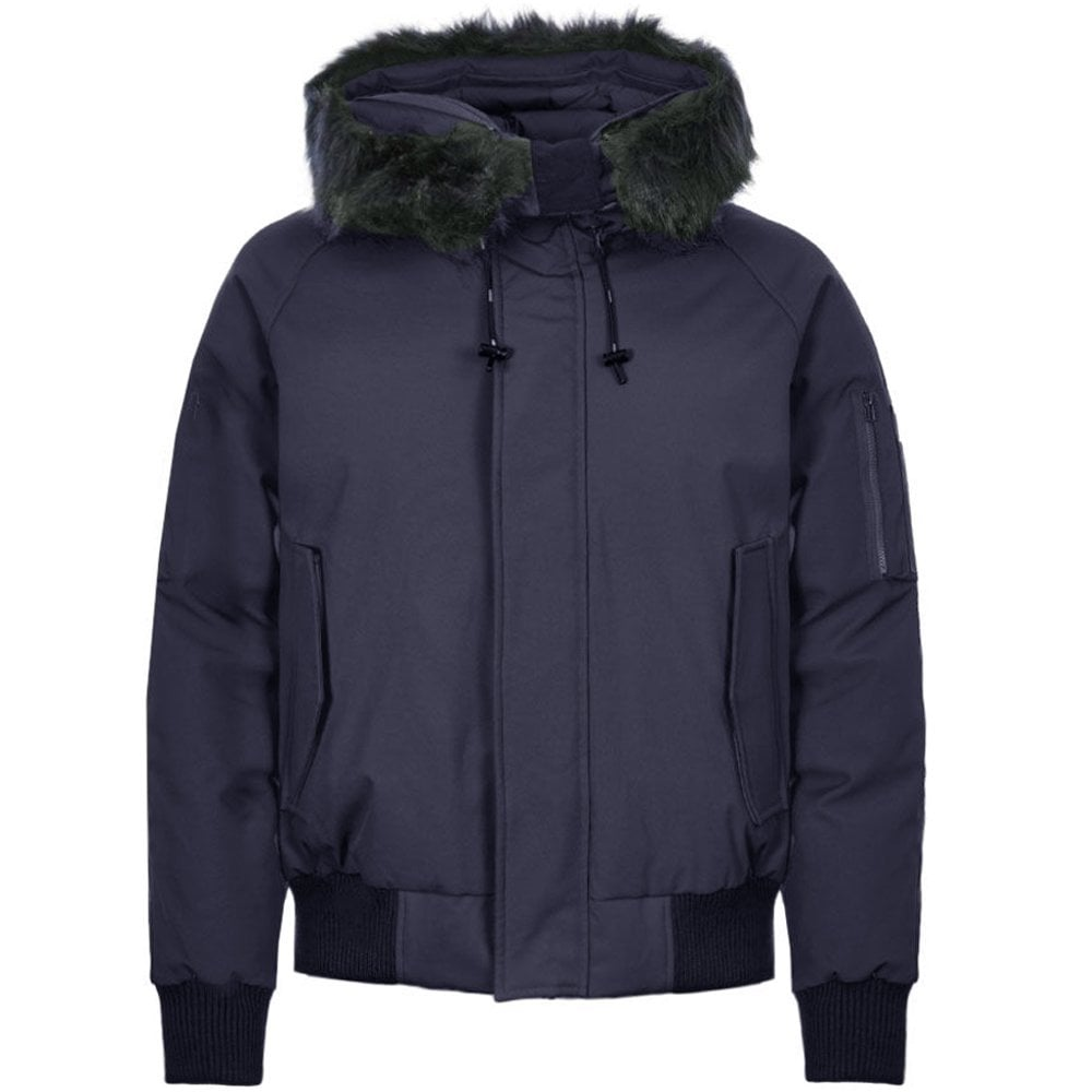 Kenzo Padded Fur Hooded Parka Jacket Colour: NAVY, Size: EXTRA LARGE