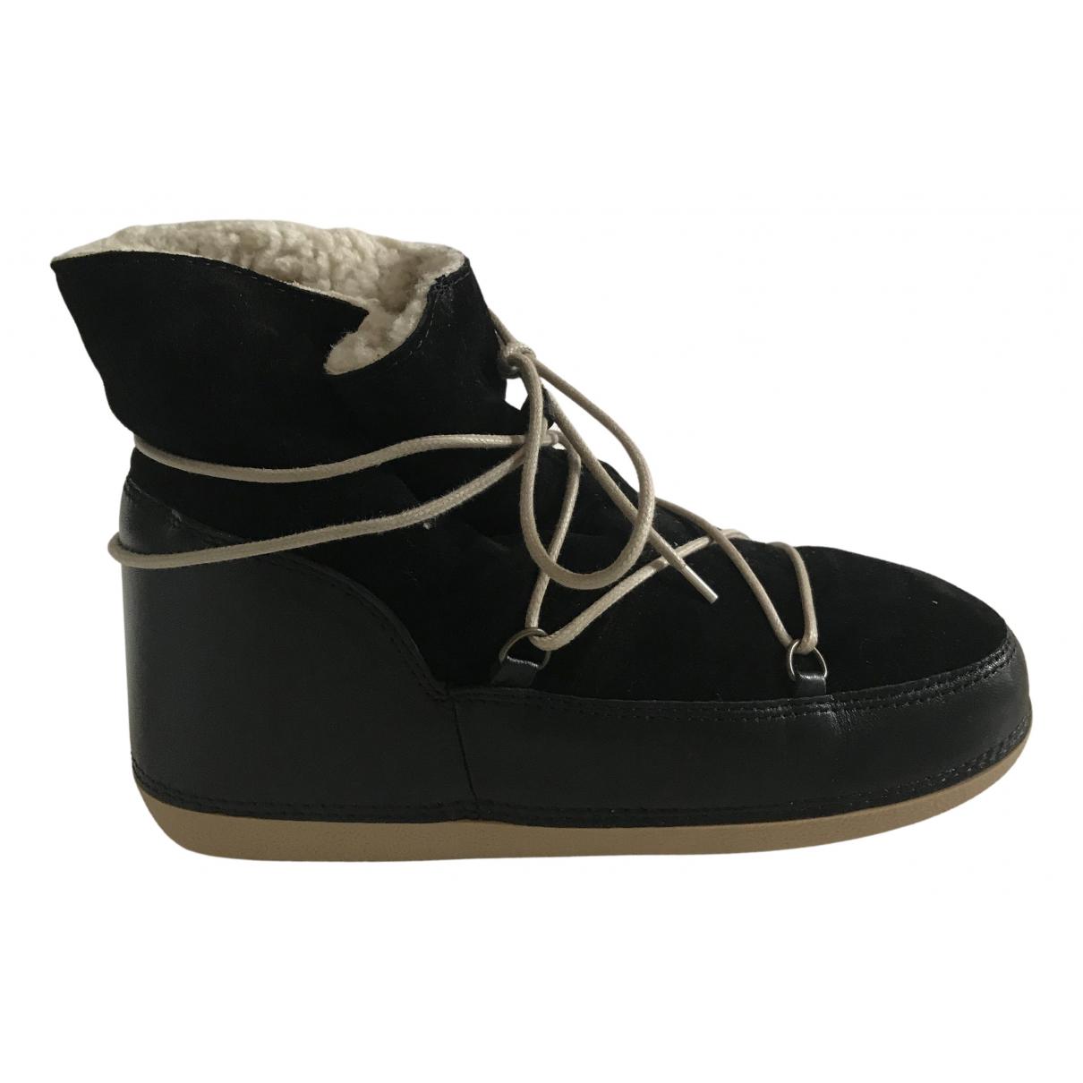 Anniel - Boots   pour femme en cuir - noir