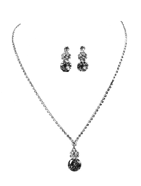 Milanoo Wedding Jewelry Set Silver Rhinestones Alloy Bridal Pendant Necklace With Pierced Earrings