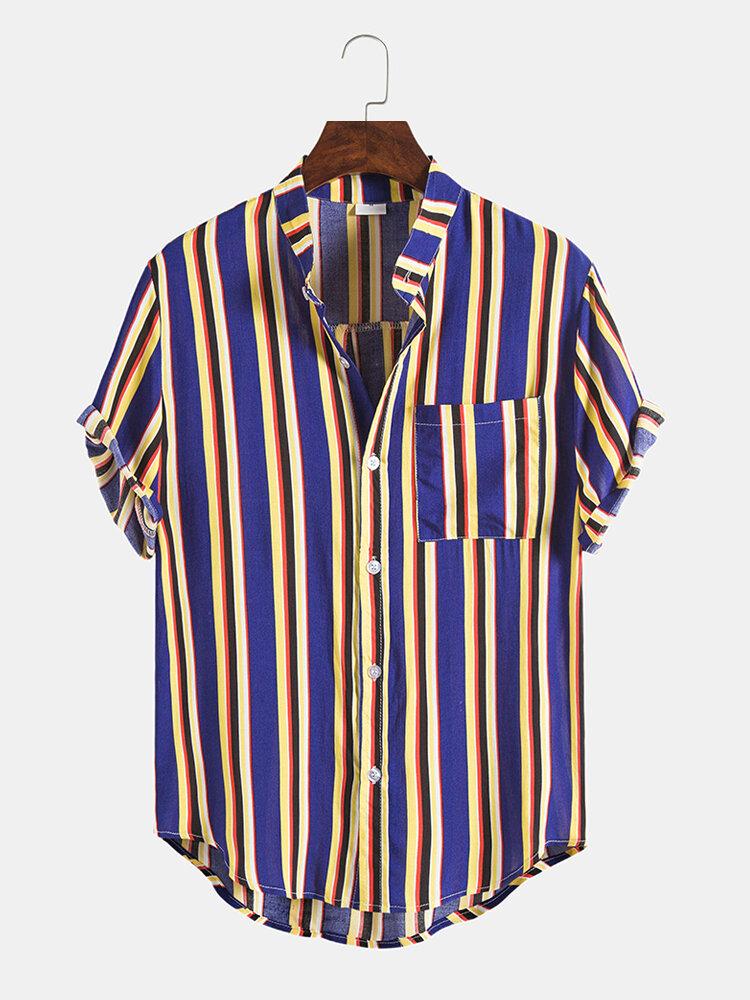 Mens Design Striped Casual Hit Color Round Hem Short Sleeve Shirts