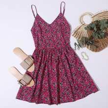 Cami Kleid mit Blumen Muster und Raffung hinten