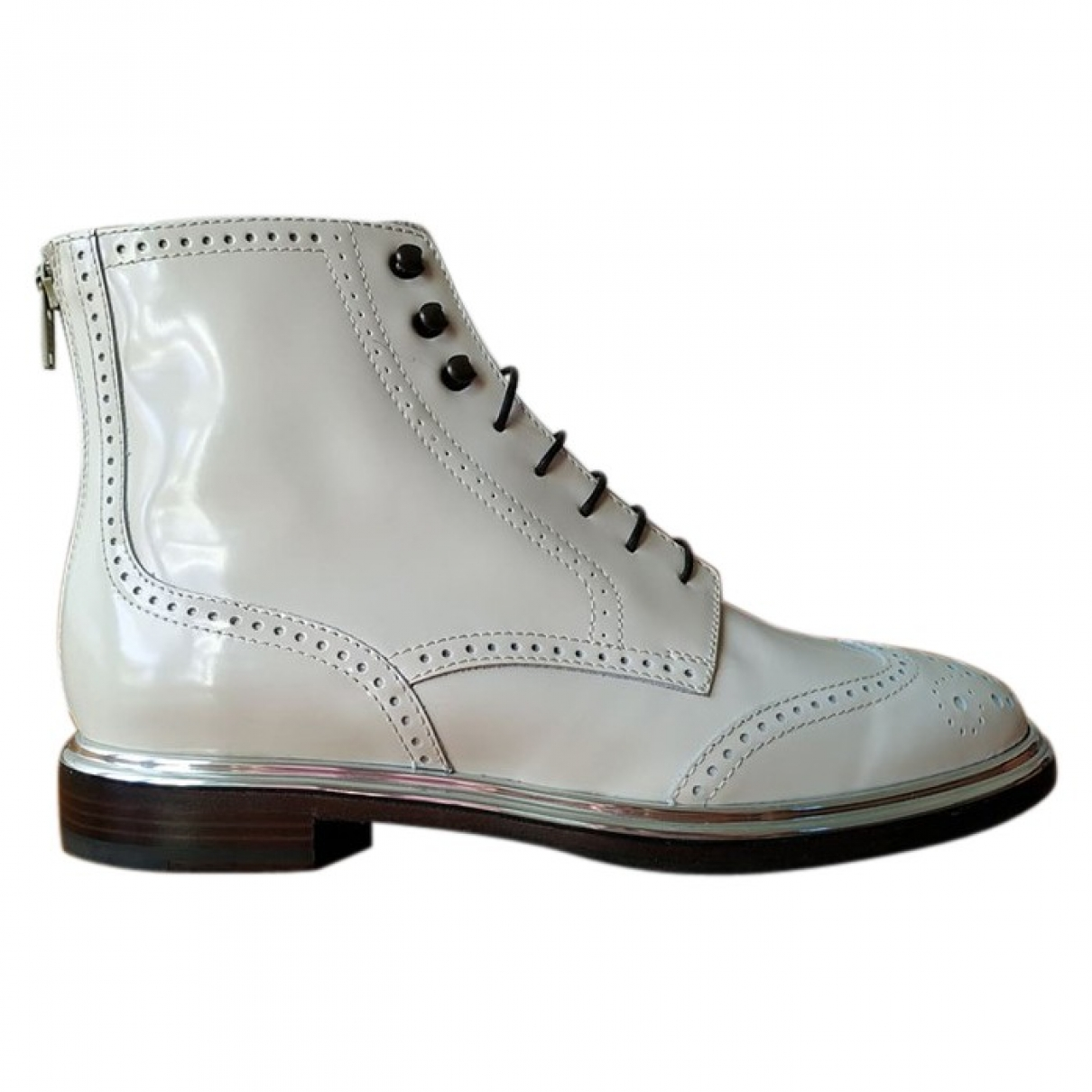 Agl \N Ecru Patent leather Ankle boots for Women 37 EU