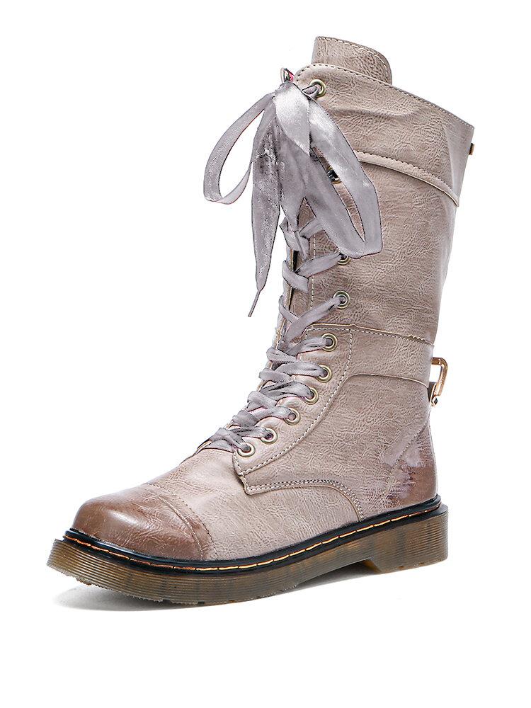 Plus Size Women Retro Round Toe Lace Up Platform Combat Boots