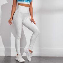 Texturierte Sports Leggings mit breitem Taillenband