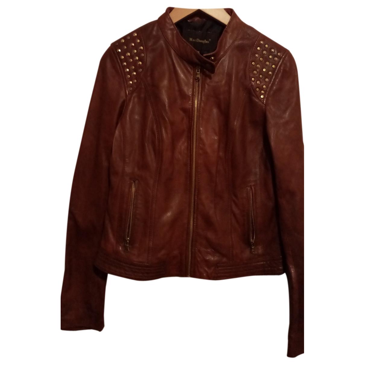 Mac Douglas N Burgundy Leather Leather jacket for Women 36 FR