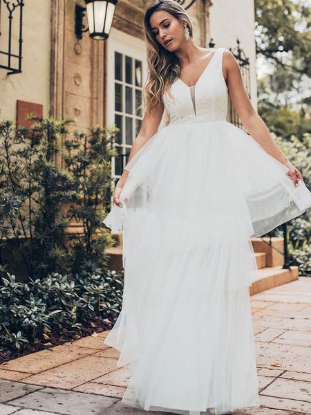 Milanoo Vestido de novia 2020 Una linea de cuello en V sin mangas Vestido de multiples capas de la torta de tul Vestido de novia