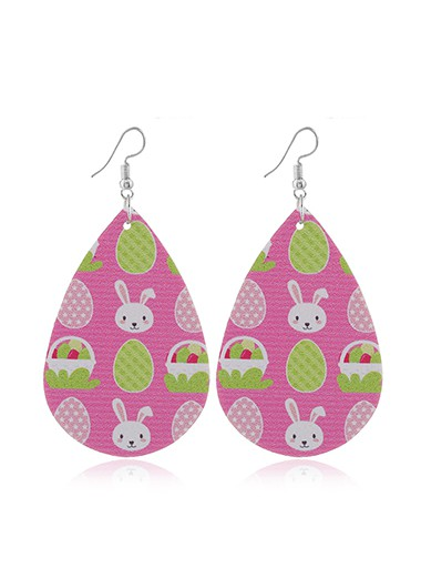Mother's Day Gifts Pink Plastic Rabbit Print Earring Set - One Size
