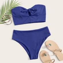 Rib Knot Front Bandeau Bikini Swimsuit