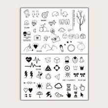 Pegatina de tatuaje geometrica y de dibujos animados 2 hojas