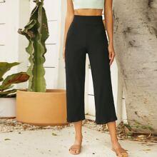 Strick einfarbige Hose mit elastischer Taille