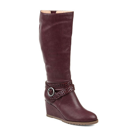 Journee Collection Womens Garin Wide Calf Dress Zip Boots Wedge Heel, 6 1/2 Medium, Red