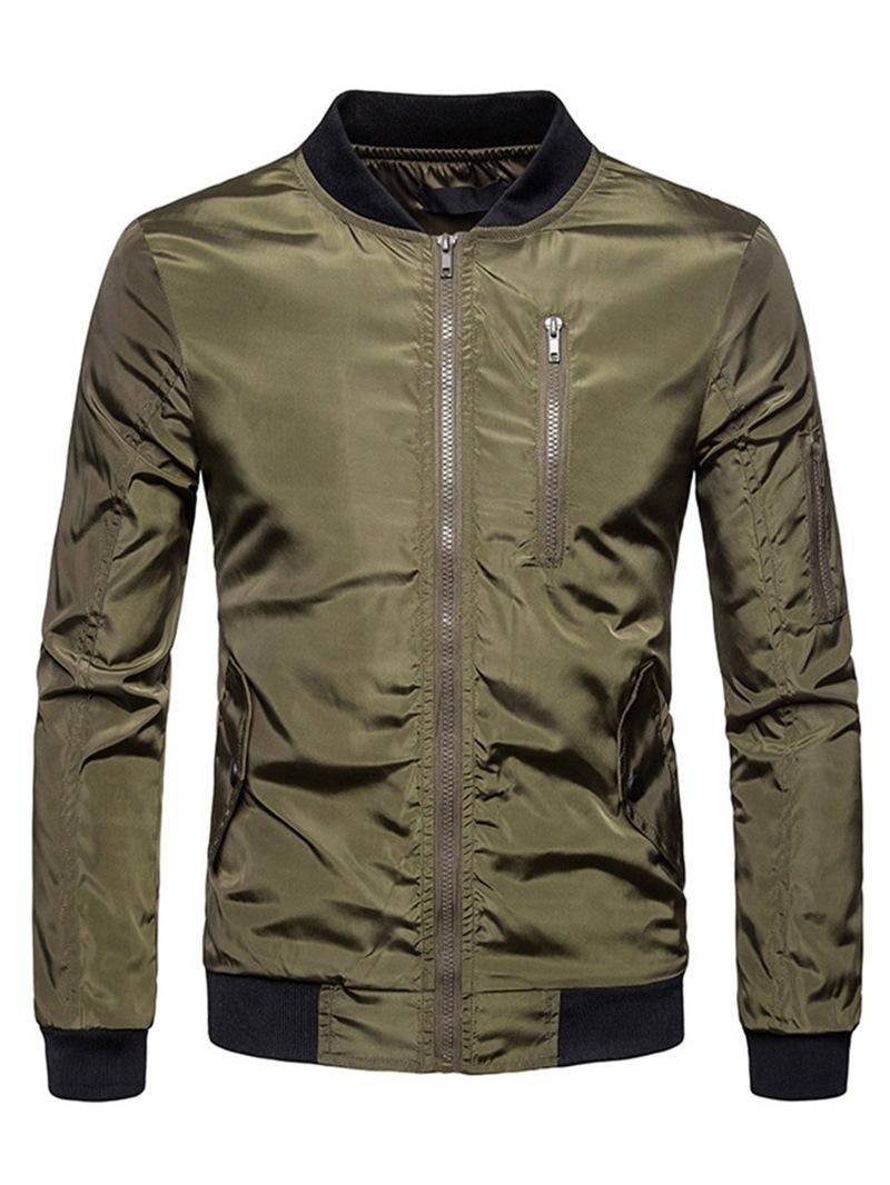 Ericdress Plain Zipper Stand Collar Mens Casual Jacket