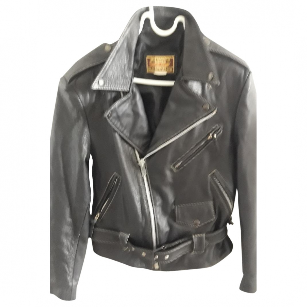 Non Signé / Unsigned \N Black Leather Leather jacket for Women 38 FR